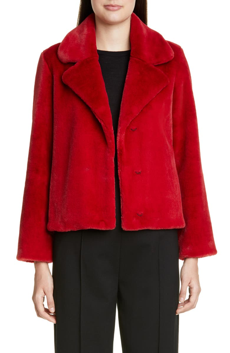 ST. JOHN COLLECTION Faux Beaver Fur Coat, Main, color, RED