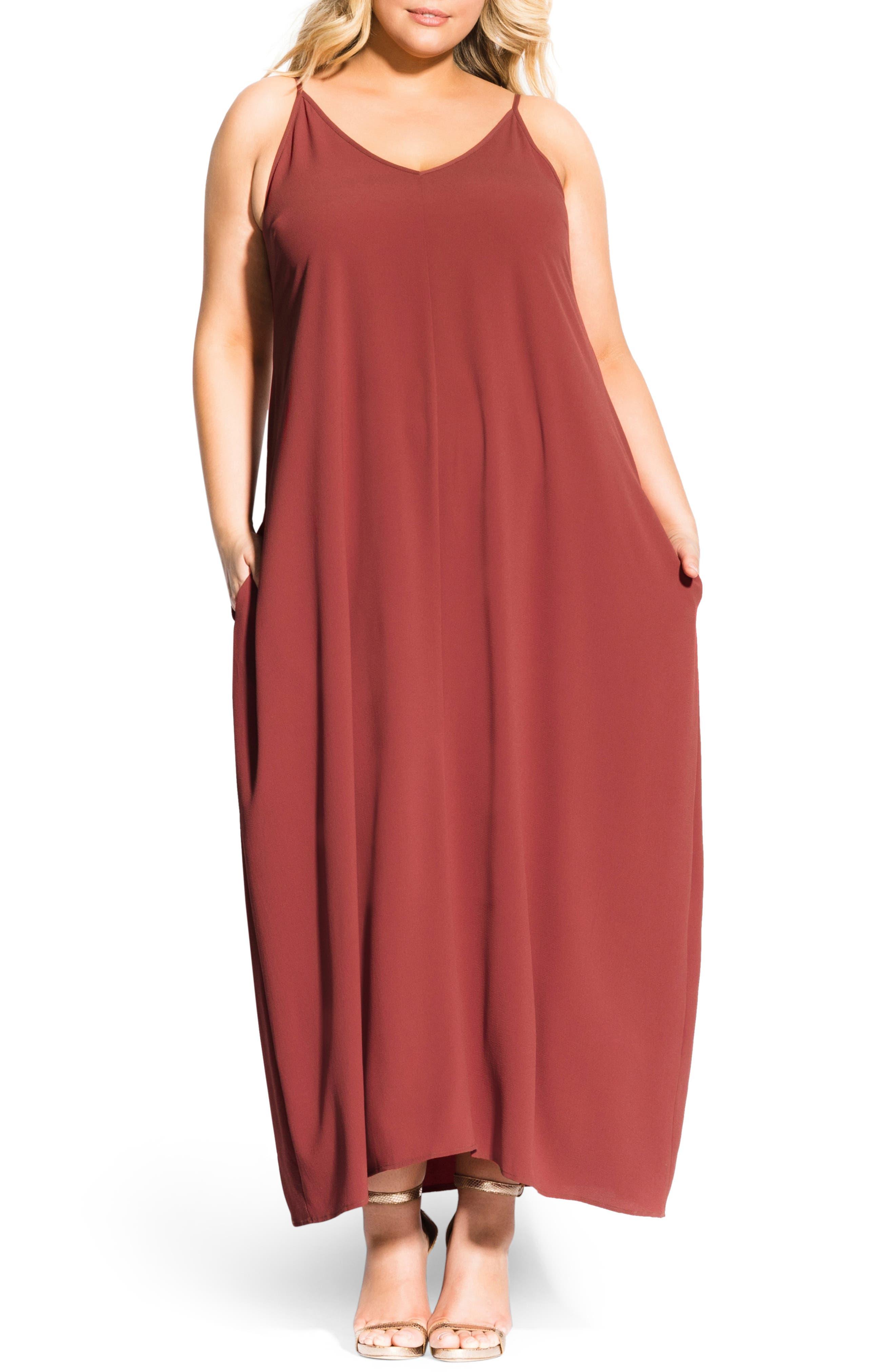 Plus Size City Chic V-Neck Maxi Dress, Orange