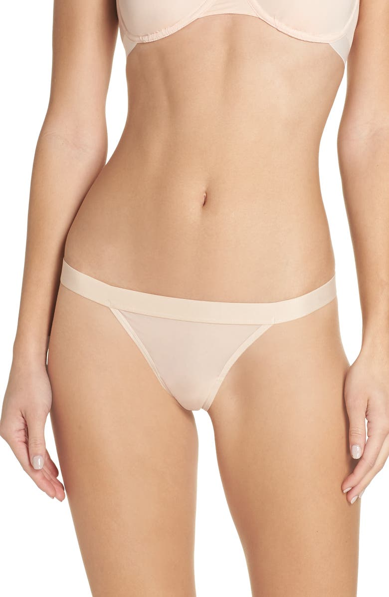 NEGATIVE UNDERWEAR Silky Thong, Main, color, PEACH