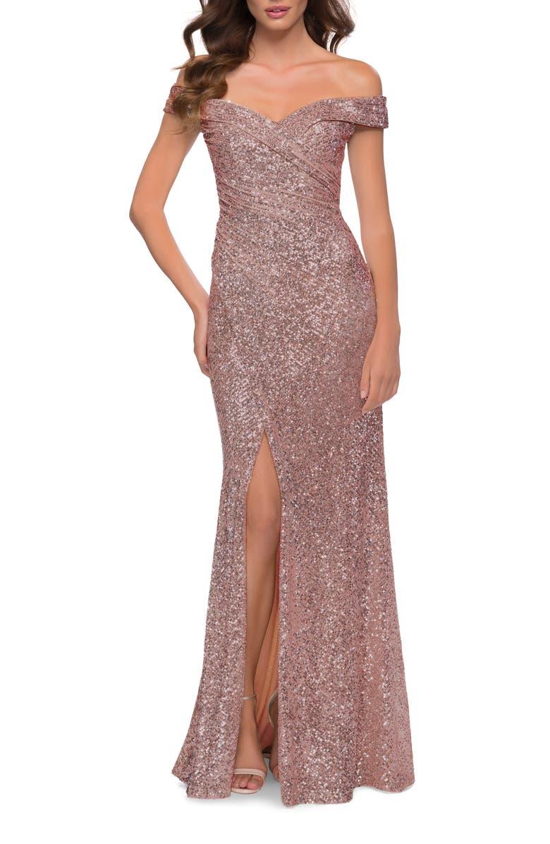 LA FEMME Sequin Off the Shoulder Gown, Main, color, ROSE GOLD