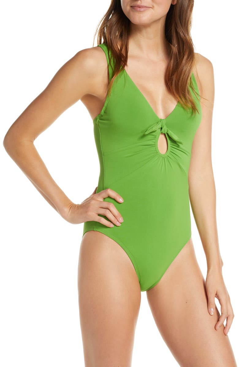 ROBIN PICCONE Ava Underwire One-Piece Plunge Swimsuit, Main, color, SPRING GREEN