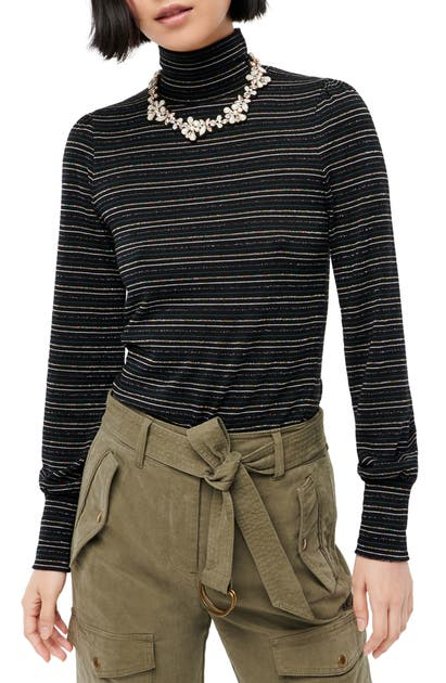 J.crew Tops METALLIC STRIPE SUPERCOZY TURTLENECK PULLOVER