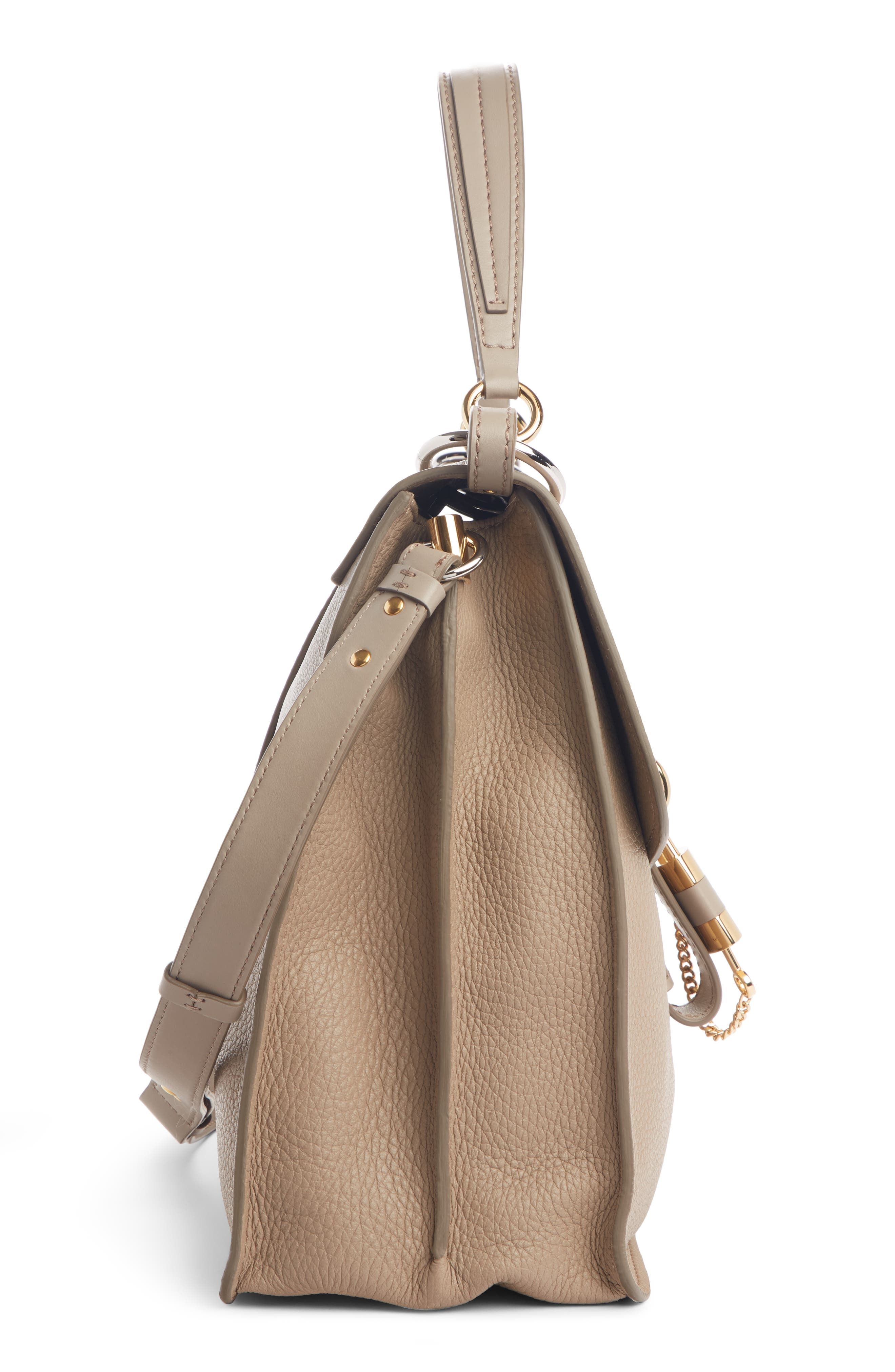 ,                             Aby Large Leather Shoulder Bag,                             Alternate thumbnail 4, color,                             MOTTY GREY