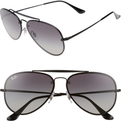 Ray-Ban 61Mm Gradient Lens Aviator Sunglasses - Shiny Black