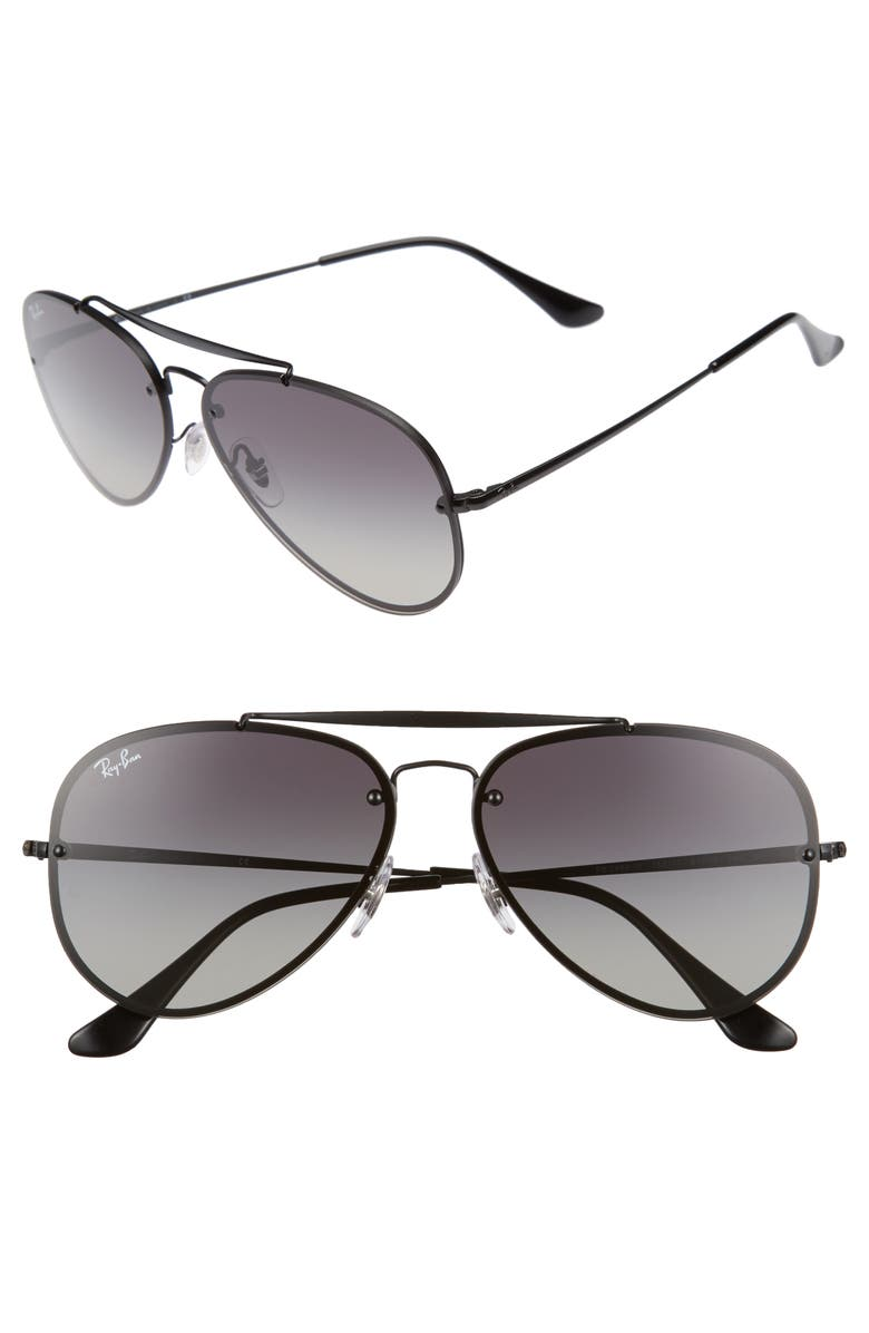 RAY-BAN 61mm Gradient Lens Aviator Sunglasses, Main, color, SHINY BLACK