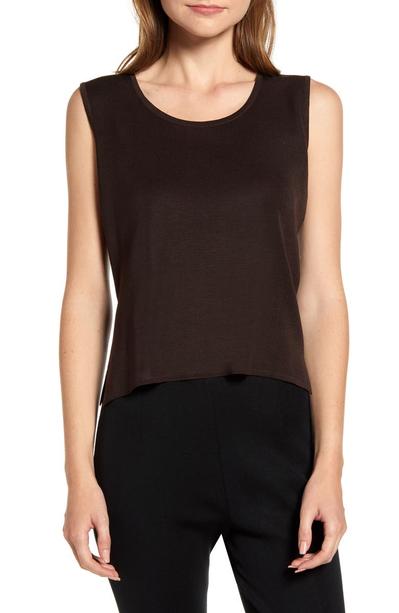 MING WANG Scoop Neck Knit Tank, Main, color, COFFEE