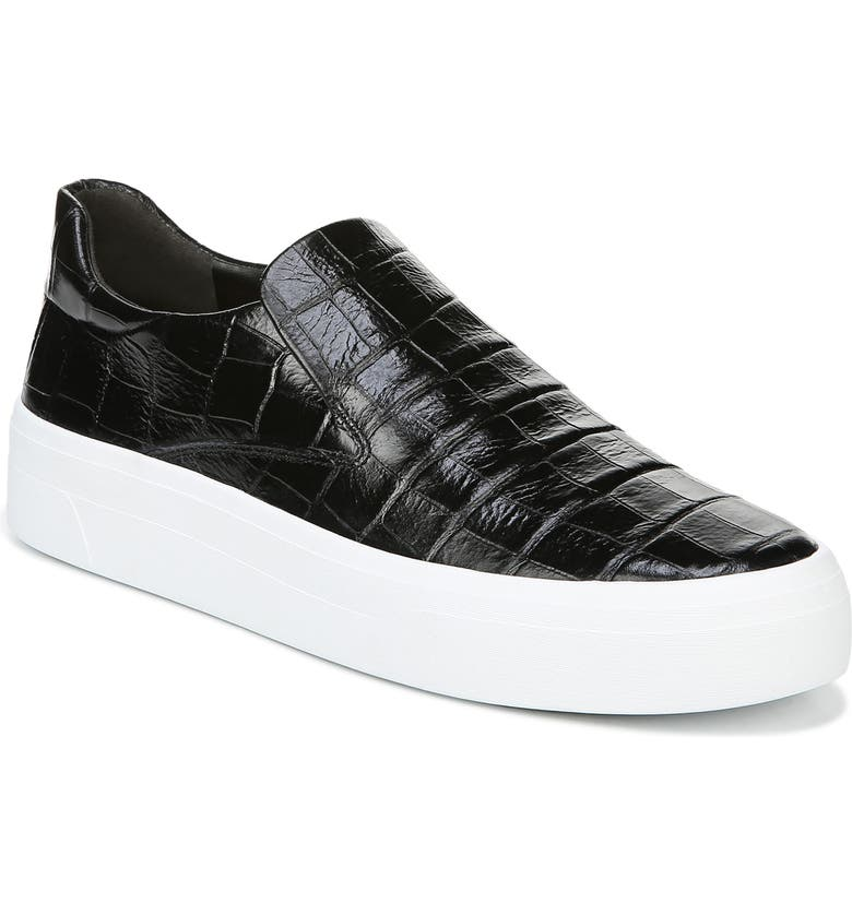 VIA SPIGA Velina Slip-On Platform Sneaker, Main, color, BLACK LEATHER
