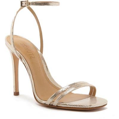 Schutz Altina Ankle Strap Sandal- Metallic