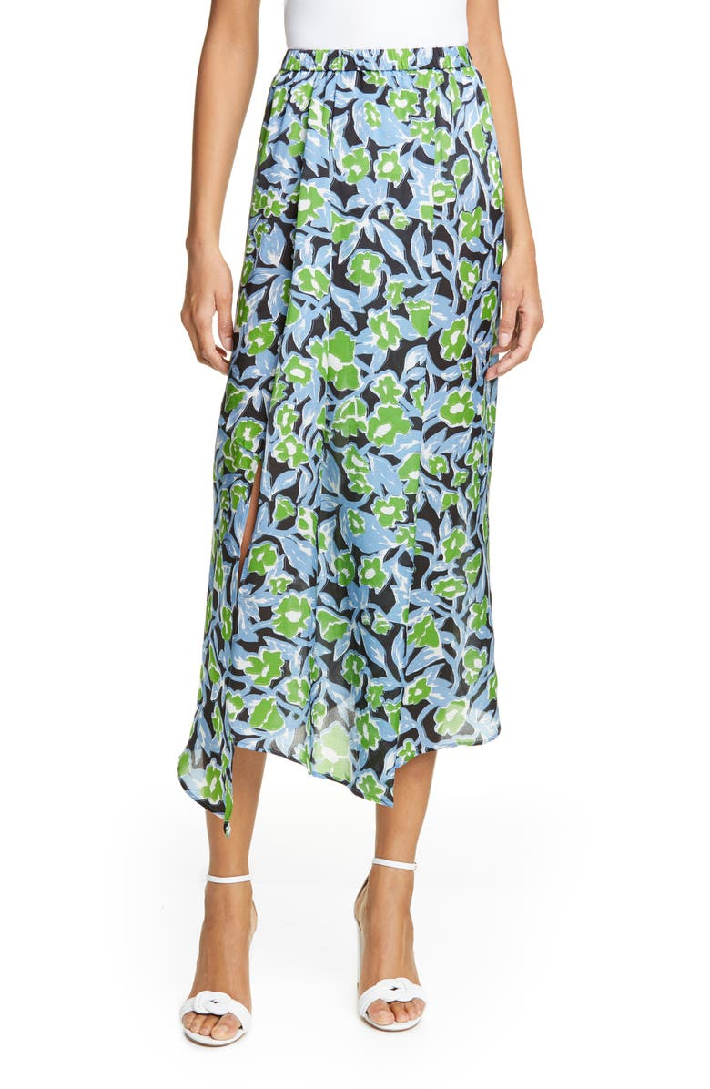 CHRISTIAN WIJNANTS Sonam Asymmetrical Floral Silk Charmeuse Midi Skirt, Main, color, FLOWER LEAVES GREEN