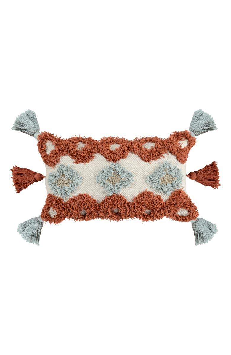 VILLA HOME COLLECTION Freda Tassel Accent Pillow, Main, color, PERSIMMON/ SKY BLUE