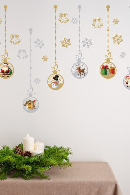 Image of WalPlus Matte Gold & Silver Christmas Ornaments Wall Stickers - 40 Pack