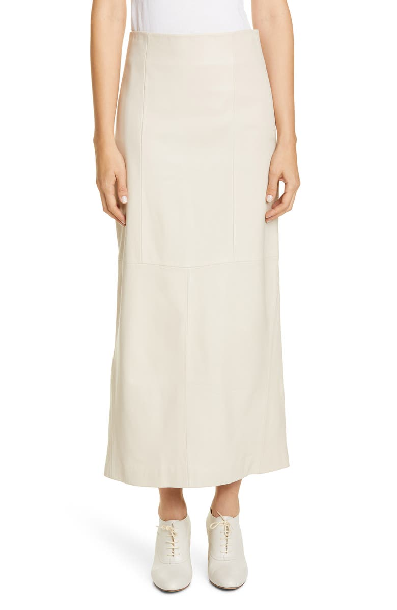 CO Leather Maxi Skirt, Main, color, IVORY