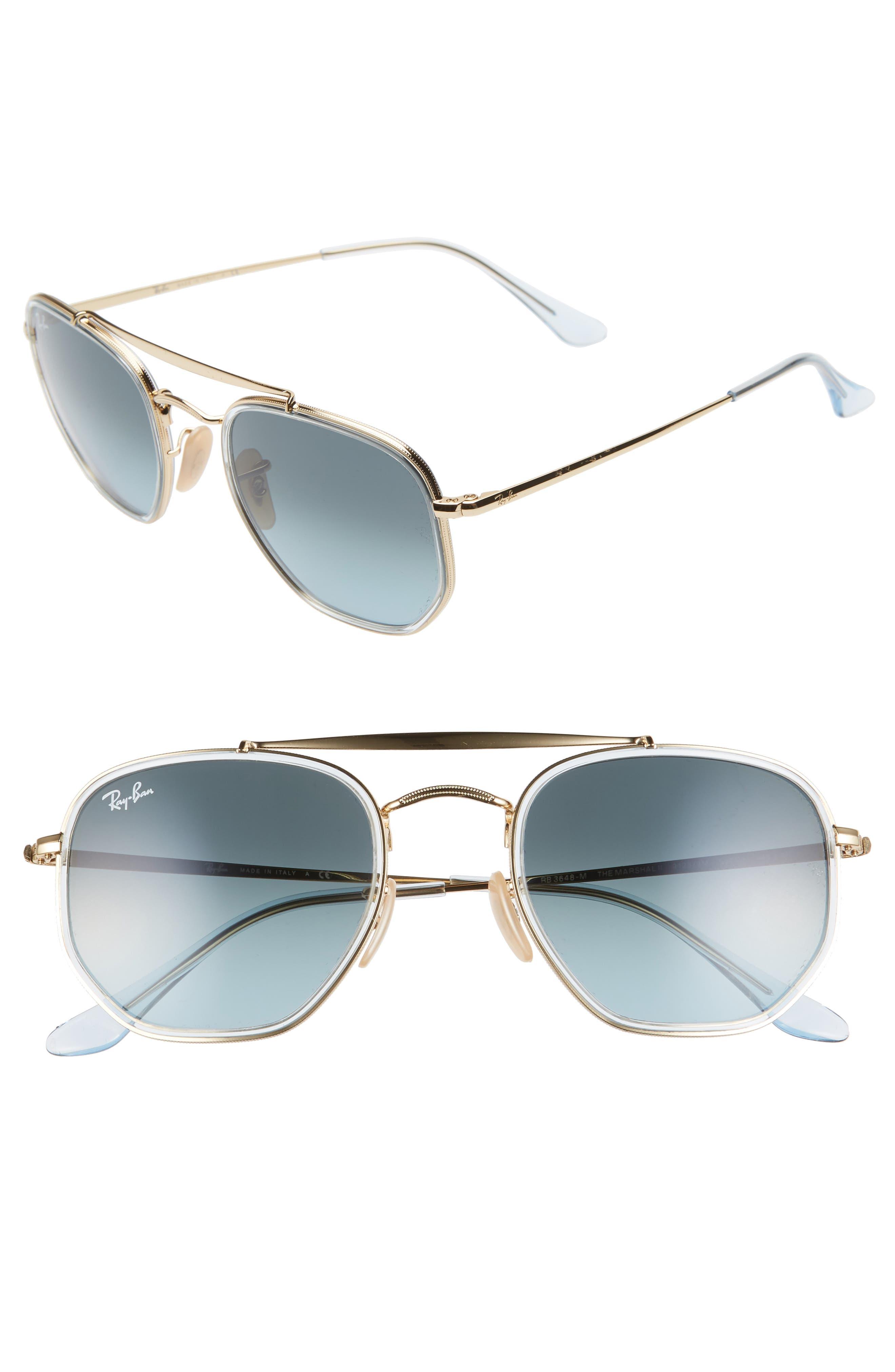 Ray-Ban 52Mm Aviator Sunglasses - Gold/ Blue Gradient