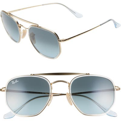 Ray-Ban 52Mm Aviator Sunglasses - Gold/ Blue Gradient