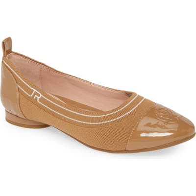 Taryn Rose Pamela Cap Toe Skimmer Flat, Brown