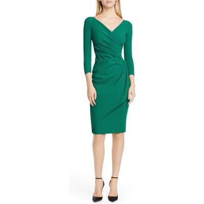 Chiara Boni La Petite Robe Charisse Ruched Long Sleeve Cocktail Dress, US / 52 IT - Green