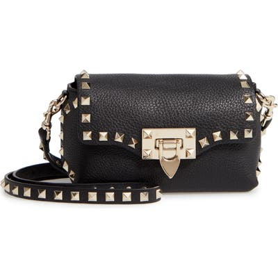 Valentino Garavani Rockstud Mini Calfskin Leather Crossbody - Black