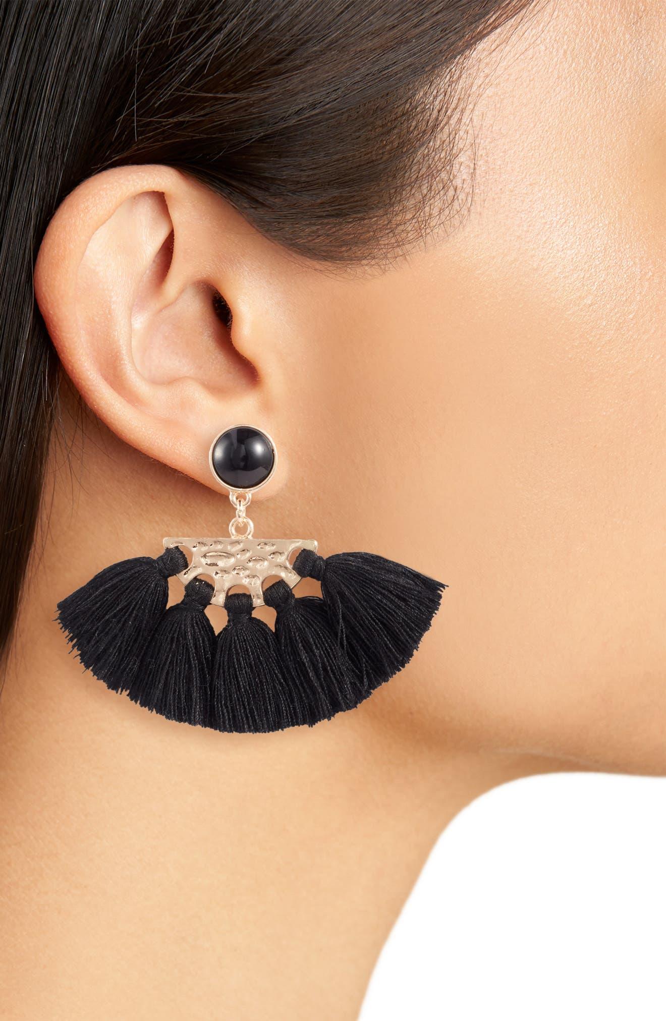 ,                             Tassel Fan Drop Earrings,                             Alternate thumbnail 2, color,                             GOLD/ BLACK