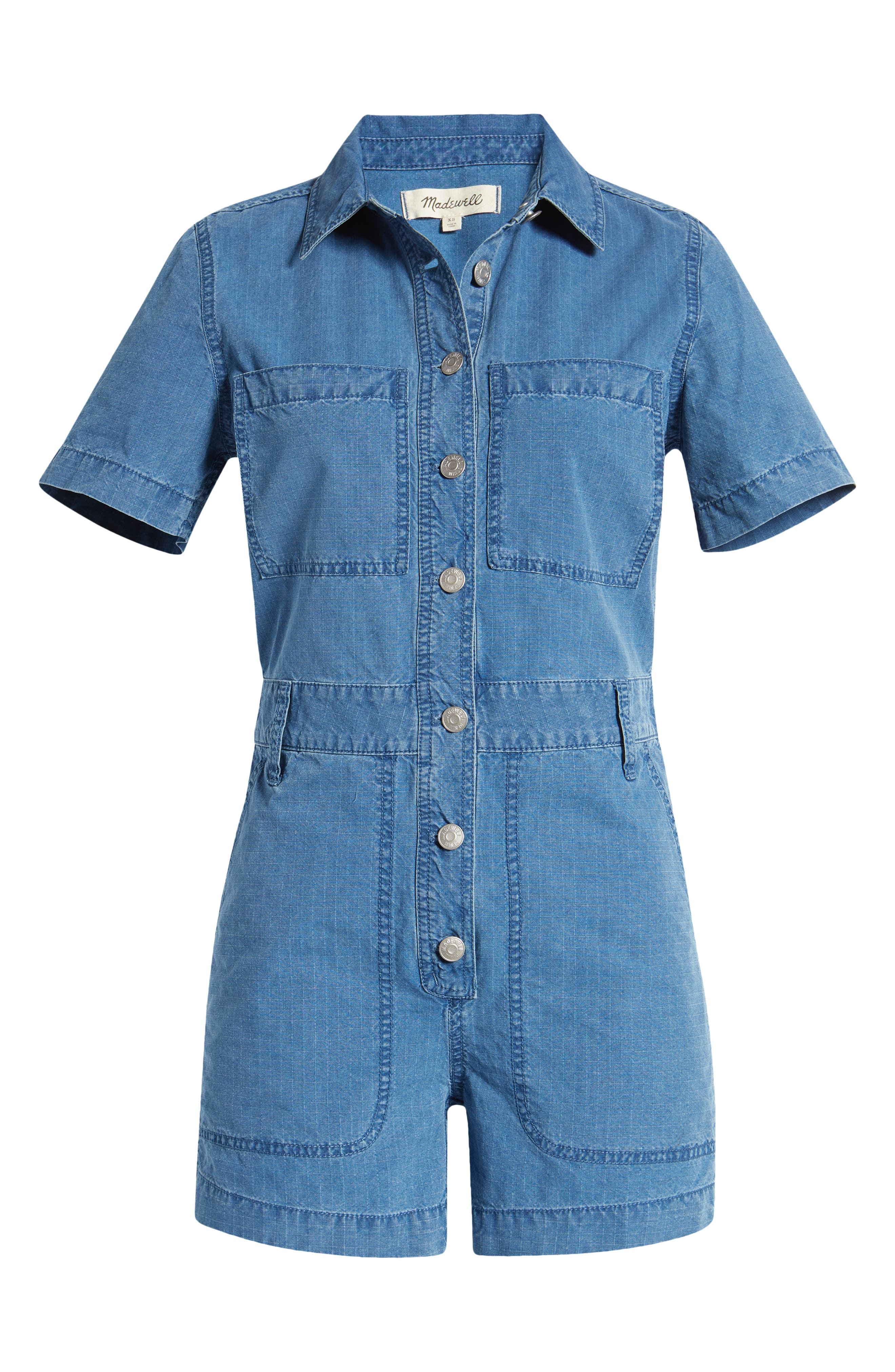 Rosie the Riveter Costume & Outfit Ideas Womens Madewell Womens Indigo Ripstop Coverall Romper Size XX-Large - Blue $138.00 AT vintagedancer.com