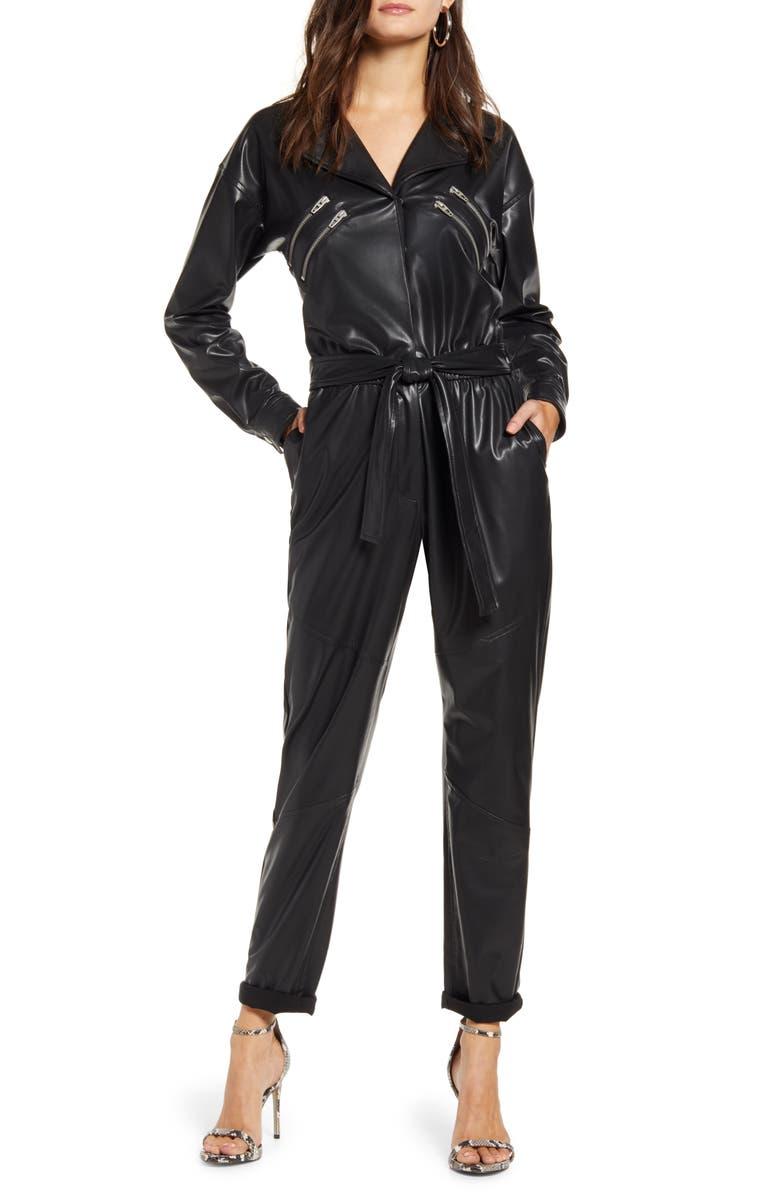 BLANKNYC Faux Leather Long Sleeve Boilersuit, Main, color, EASTSIDE VIBES