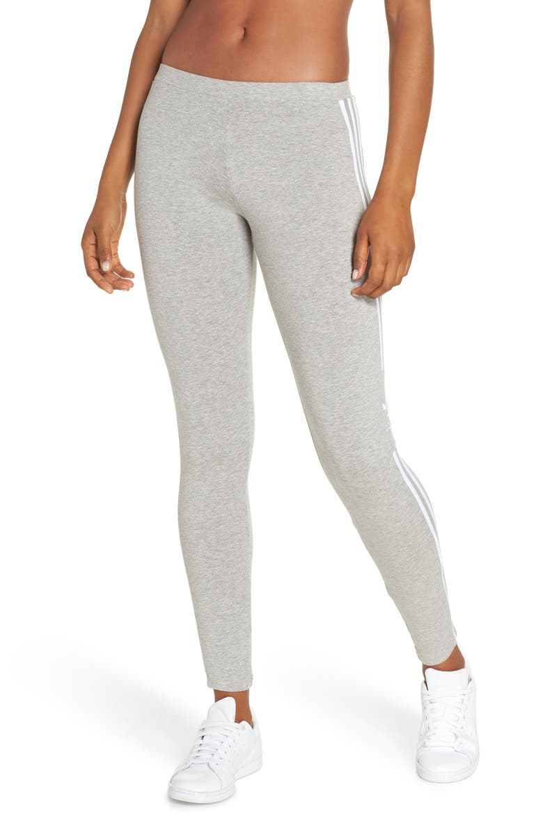 ADIDAS ORIGINALS adidas 3-Stripes Logo Leggings, Main, color, MEDIUM GREY HEATHER
