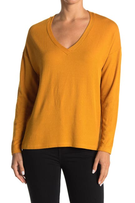 Image of Lush V-Neck Long Sleeve Ribbed Crepe Top
