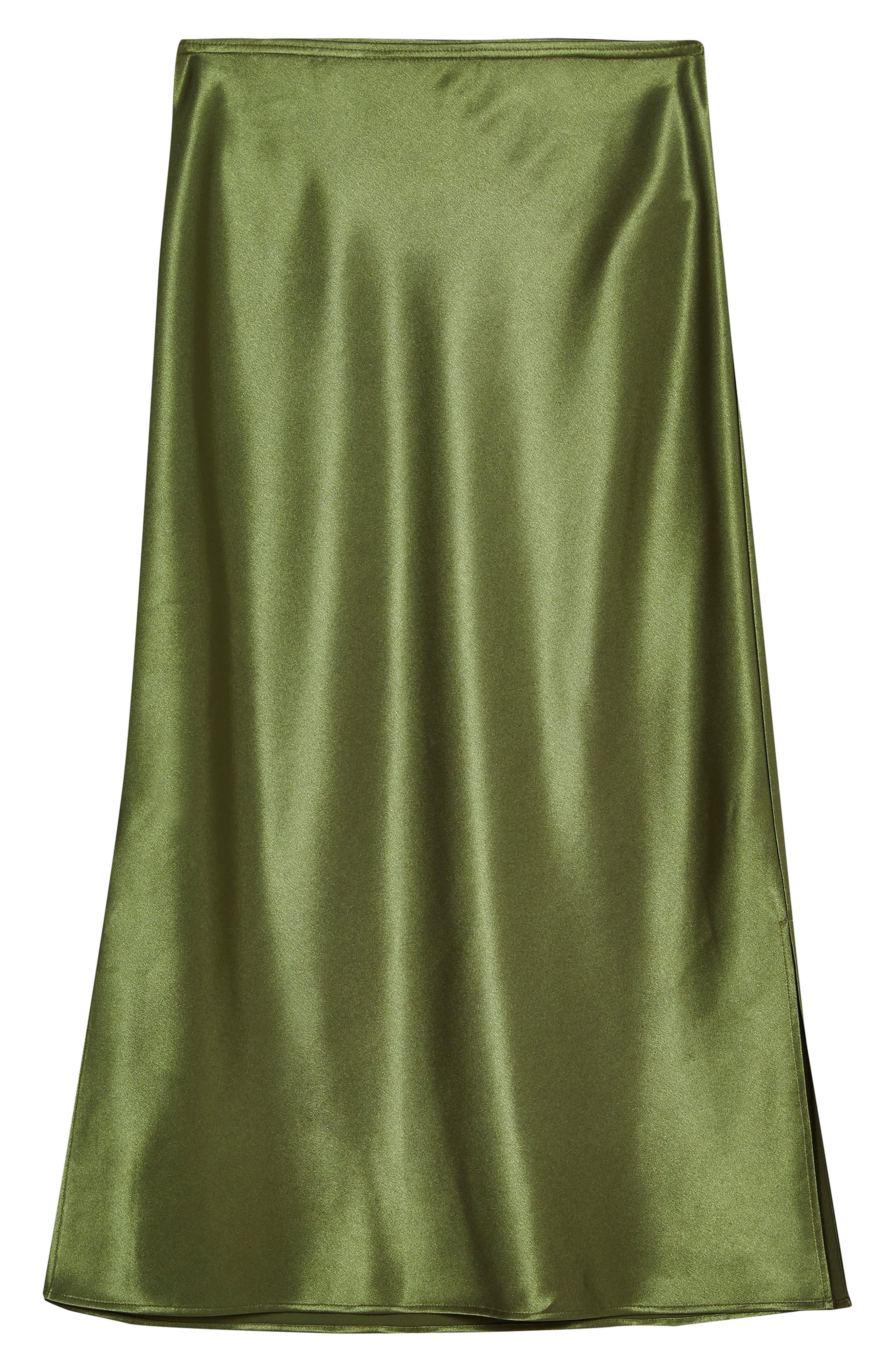 ,                             Slit Bias Cut Satin Midi Skirt,                             Alternate thumbnail 3, color,                             OLIVE