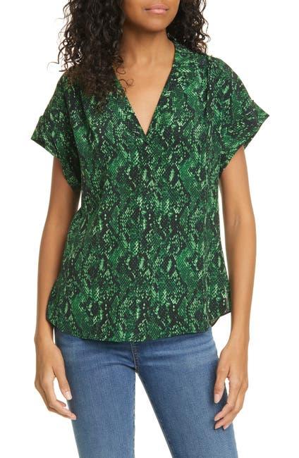 Image of VERONICA BEARD Merci Python Print Silk Blouse