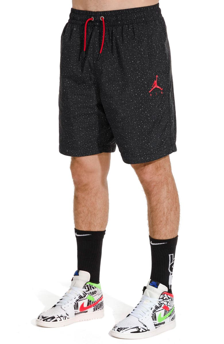 JORDAN Jumpman Cement Poolside Nylon Athletic Shorts, Main, color, BLACK/ GYM RED/ GYM RED