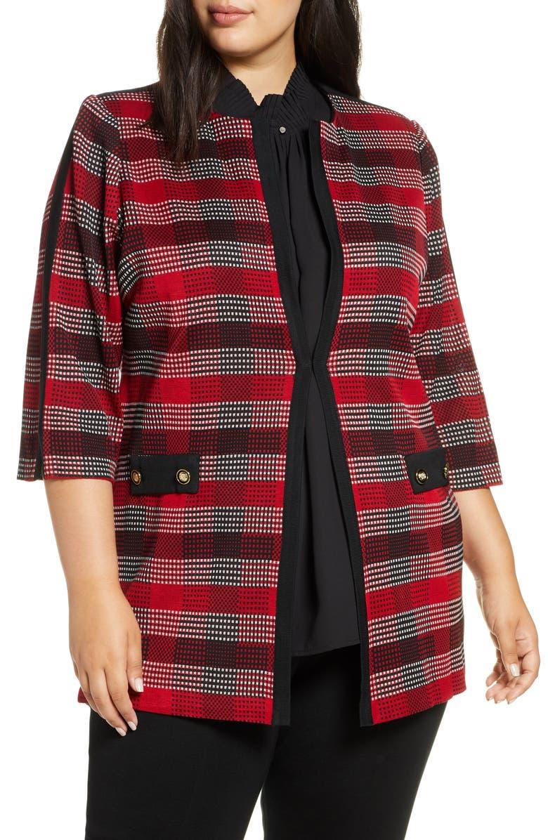 MING WANG Long Plaid Knit Jacket, Main, color, BONFIRE/ BLACK/ IVORY