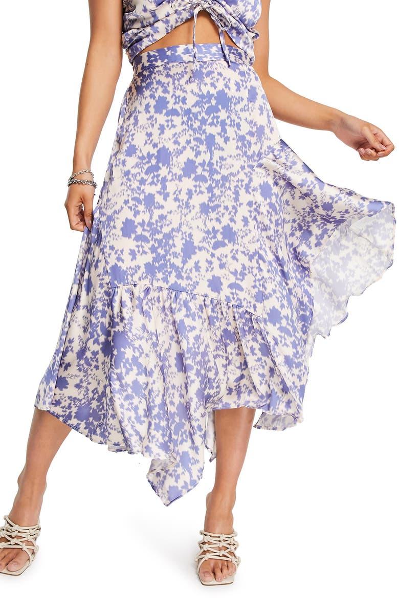 TOPSHOP Floral Asymmetric Skirt, Main, color, MID BLUE