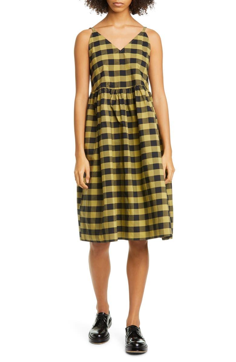 SOFIE D'HOORE Check Cotton Sundress, Main, color, OLIVE BLACK
