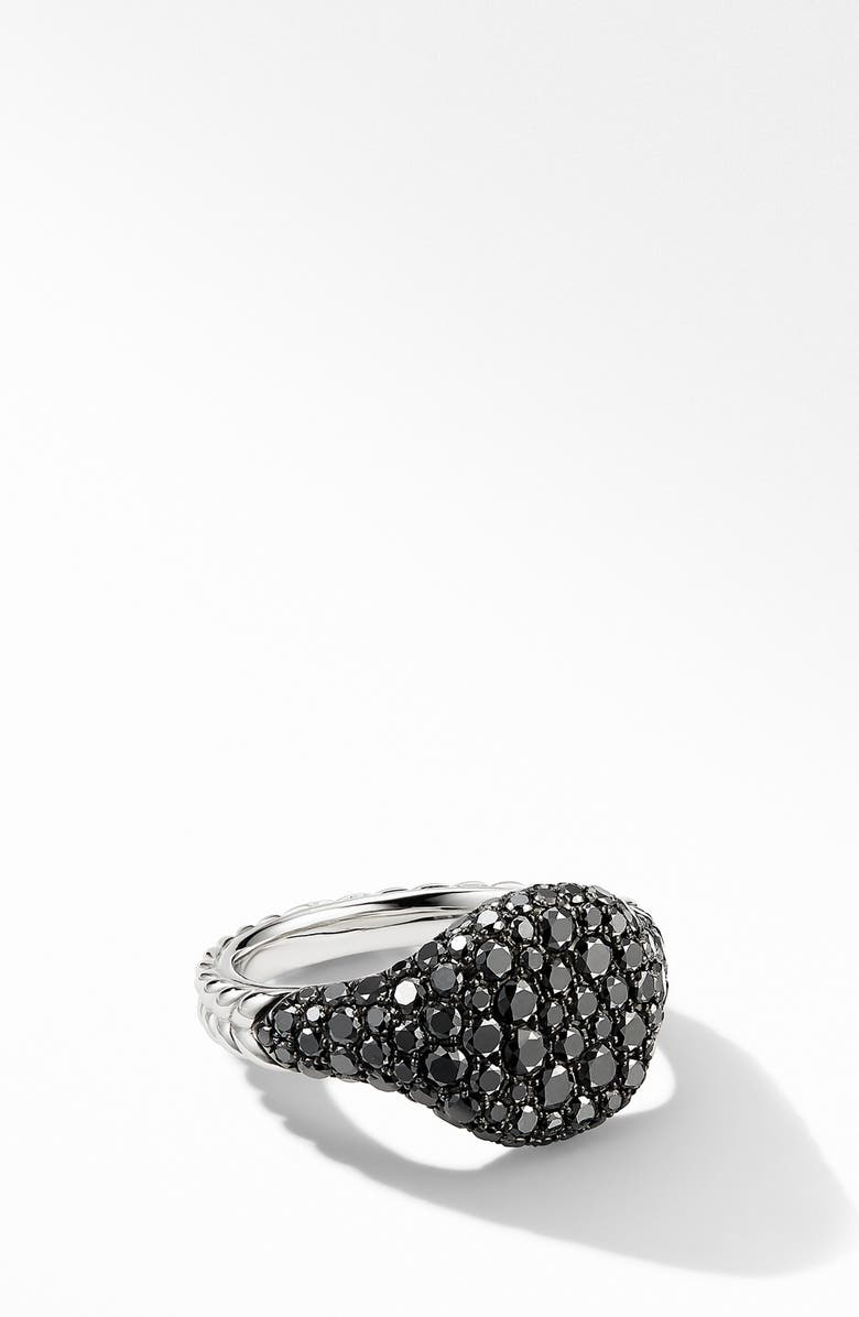 DAVID YURMAN Mini Chevron Pinky Ring in 18K White Gold with Pavé Black Diamonds, Main, color, BLACK DIAMOND