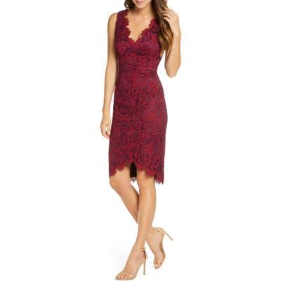 Eliza J Tulip Hem Lace Cocktail Dress, Burgundy