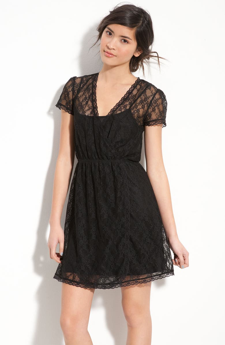 FRENCHI <sup>®</sup> Layered Lace Faux Wrap Dress, Main, color, 001
