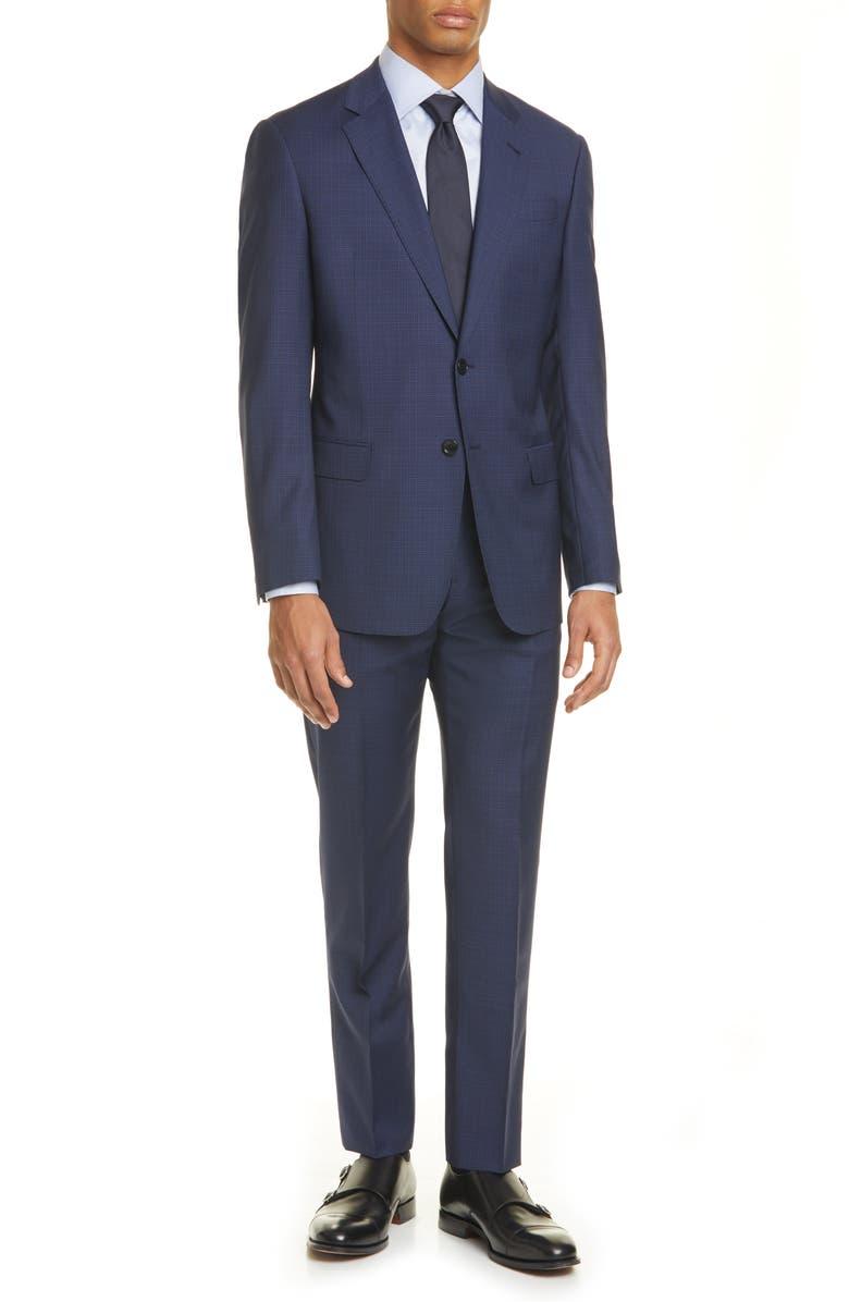 GIORGIO ARMANI Trim Fit Check Wool Suit, Main, color, BLUE
