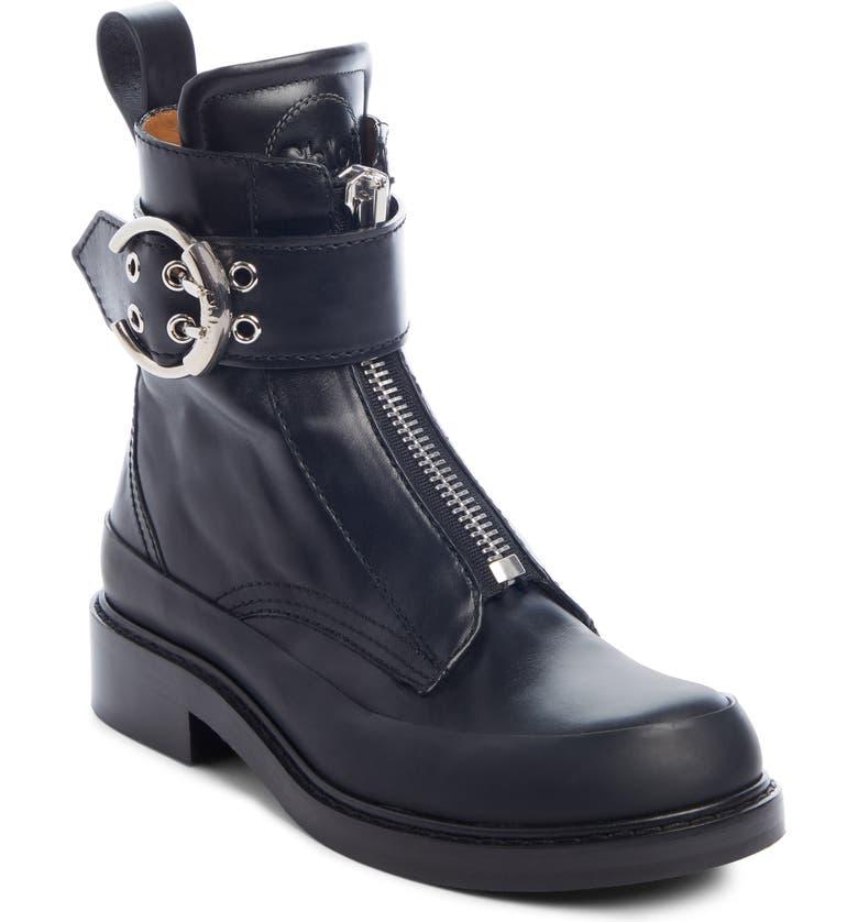 CHLOÉ Roy Zip Front Combat Boot, Main, color, BLACK