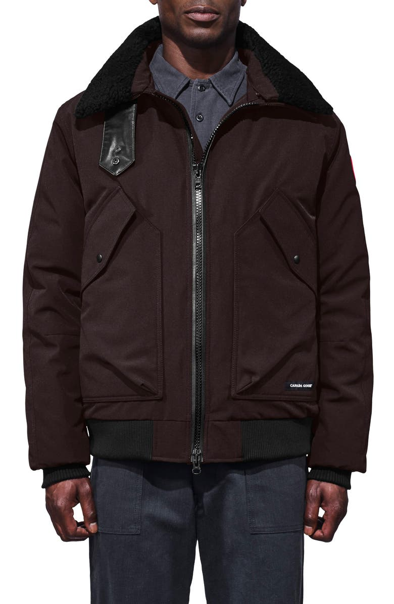 CANADA GOOSE Bromley Slim Fit Down Bomber Jacket with Genuine Shearling Collar, Main, color, CHARRED WOOD