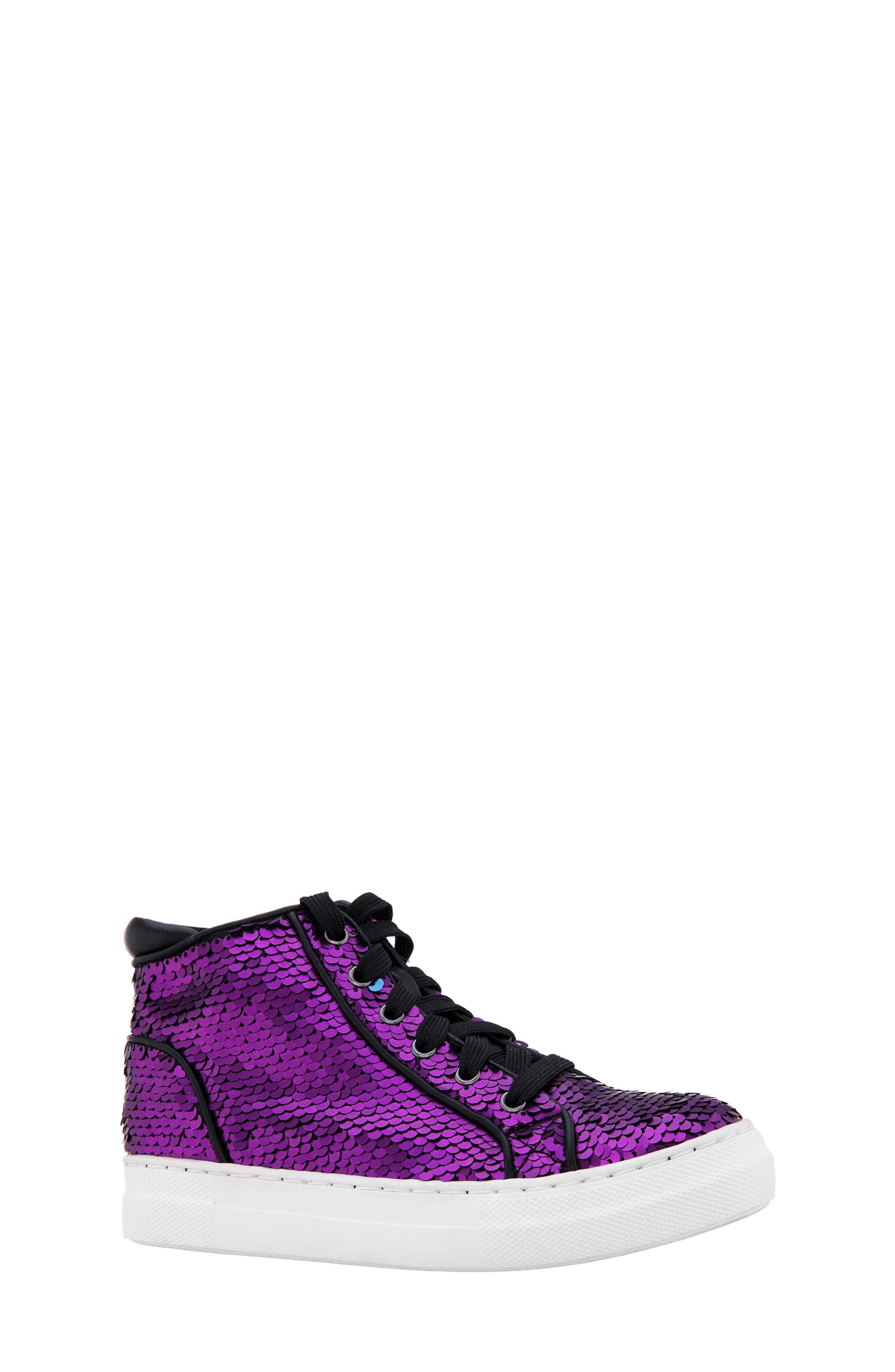 Girls Nina Caroleen Reversible Sequin High Top Sneaker Size 2 M  Purple