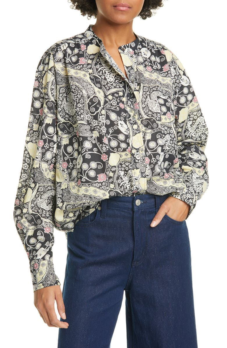 ISABEL MARANT ÉTOILE Mexica Print Cotton Shirt, Main, color, BLACK/ BEIGE
