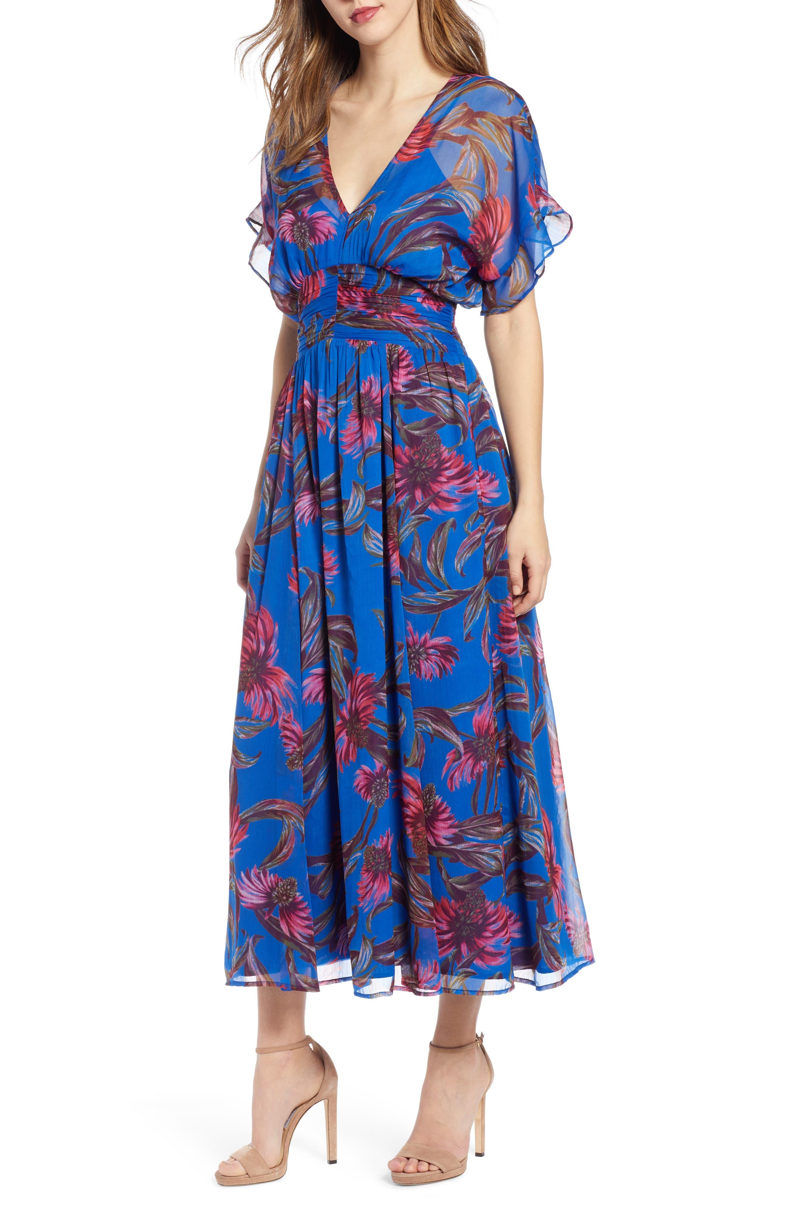 Leith Botanical Print Kimono Sleeve Maxi Dress, Blue
