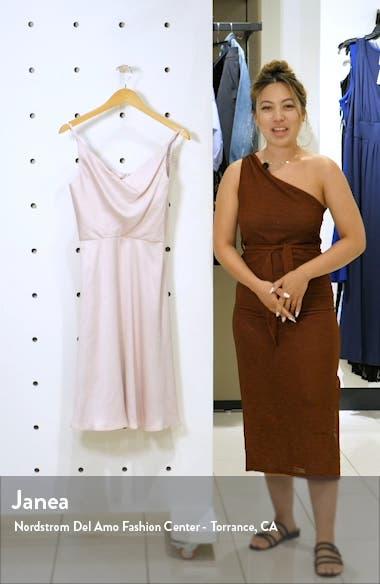 Teagan Cowl Neck Satin Dress, sales video thumbnail