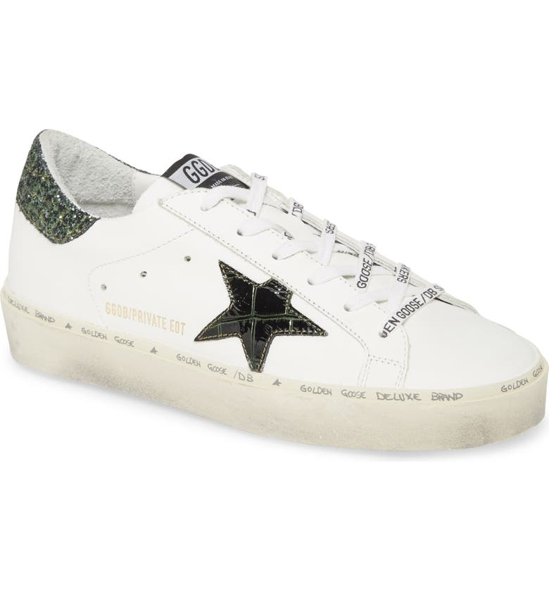 GOLDEN GOOSE Hi Star Platform Sneaker, Main, color, WHITE/ GREEN LEATHER