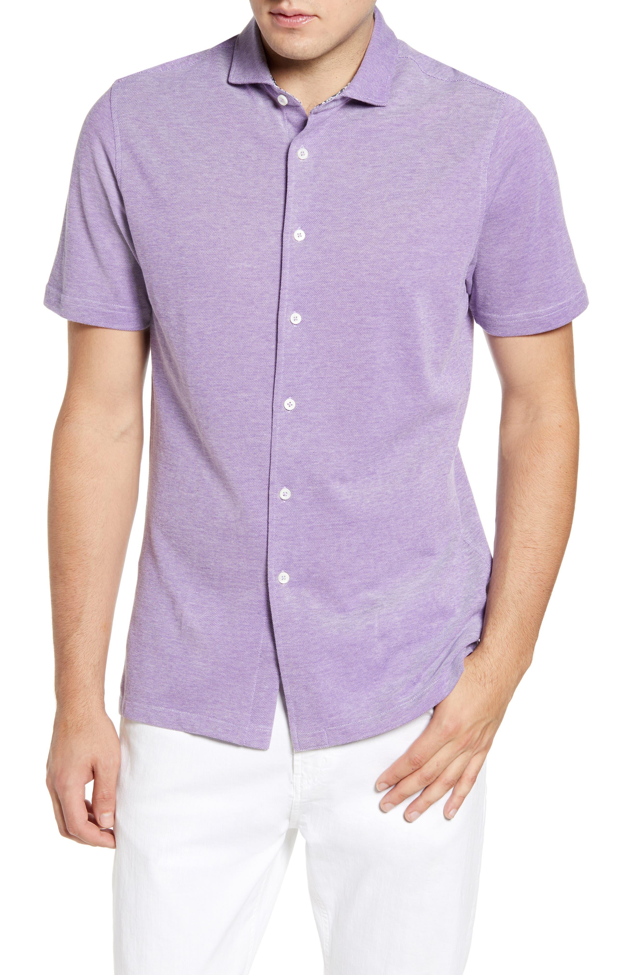 men's bugatchi regular fit knit shirt, size x-large - purple