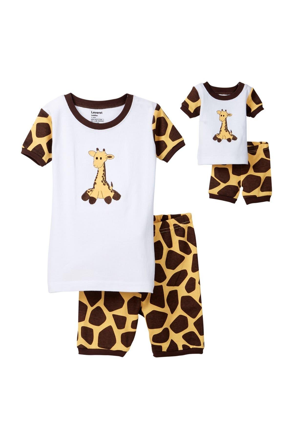 Image of Leveret Giraffe Pajama & Matching Doll Pajama Set