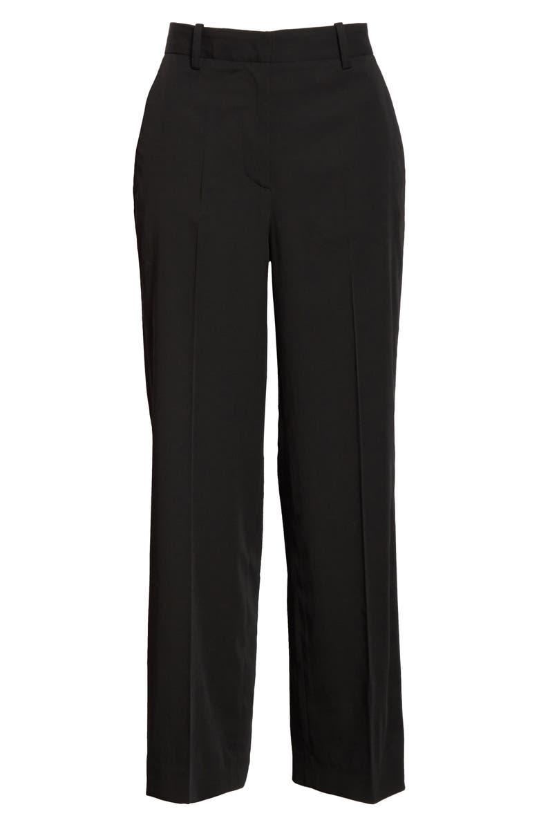 MANSUR GAVRIEL Straight Leg Wool Pants, Main, color, BLACK