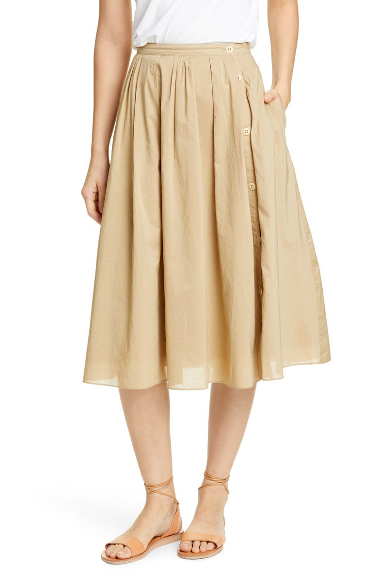 ALEX MILL Cotton Midi Skirt, Main, color, 281