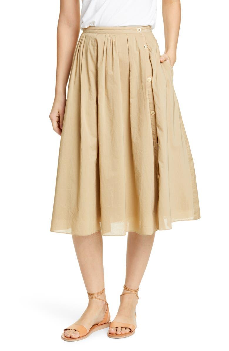 ALEX MILL Cotton Midi Skirt, Main, color, VINTAGE KHAKI