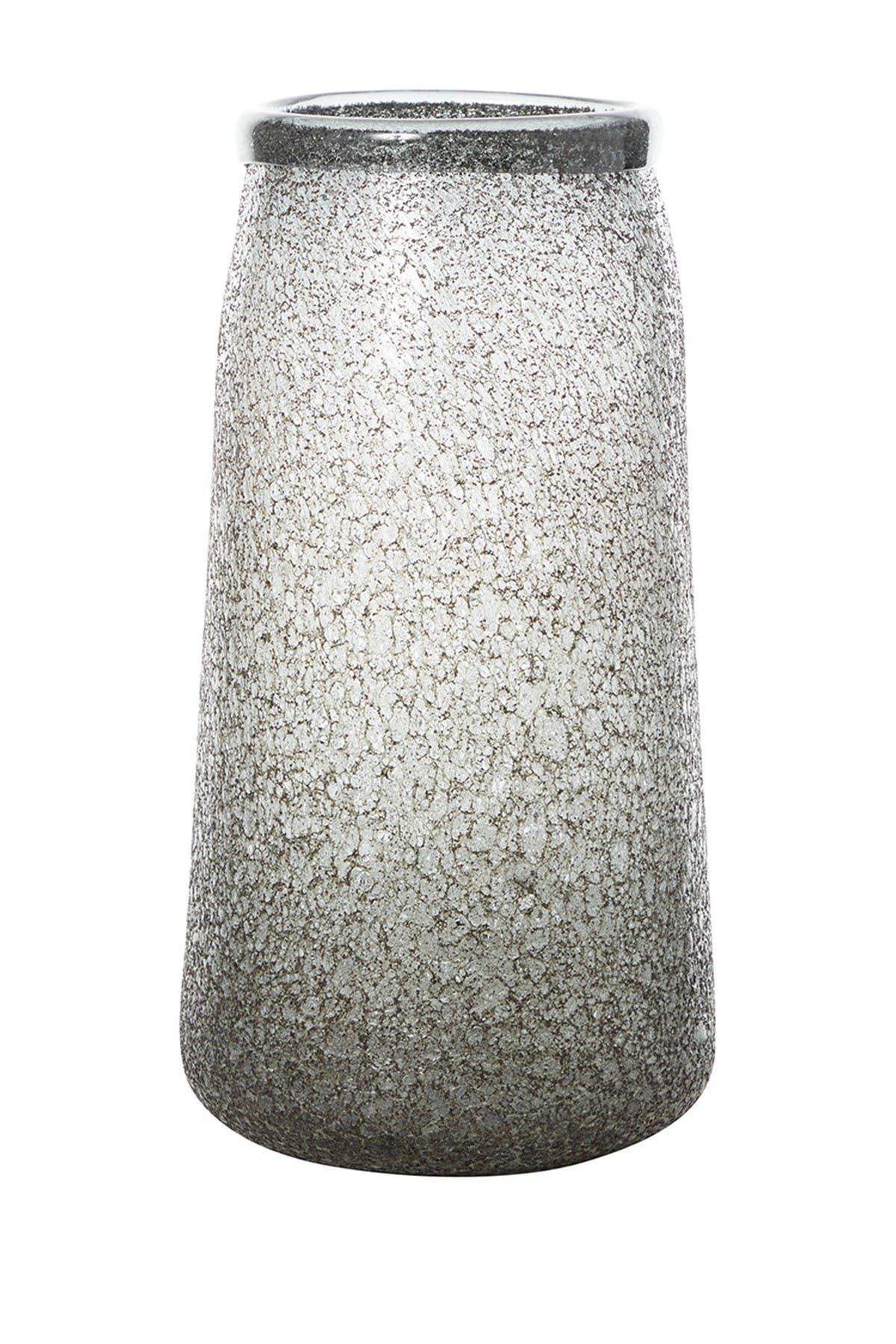 "Image of Willow Row Modern Style Tall, Round Textured Metallic Silver Smoked Glass Vase Table Decor, 7"" x 14"""