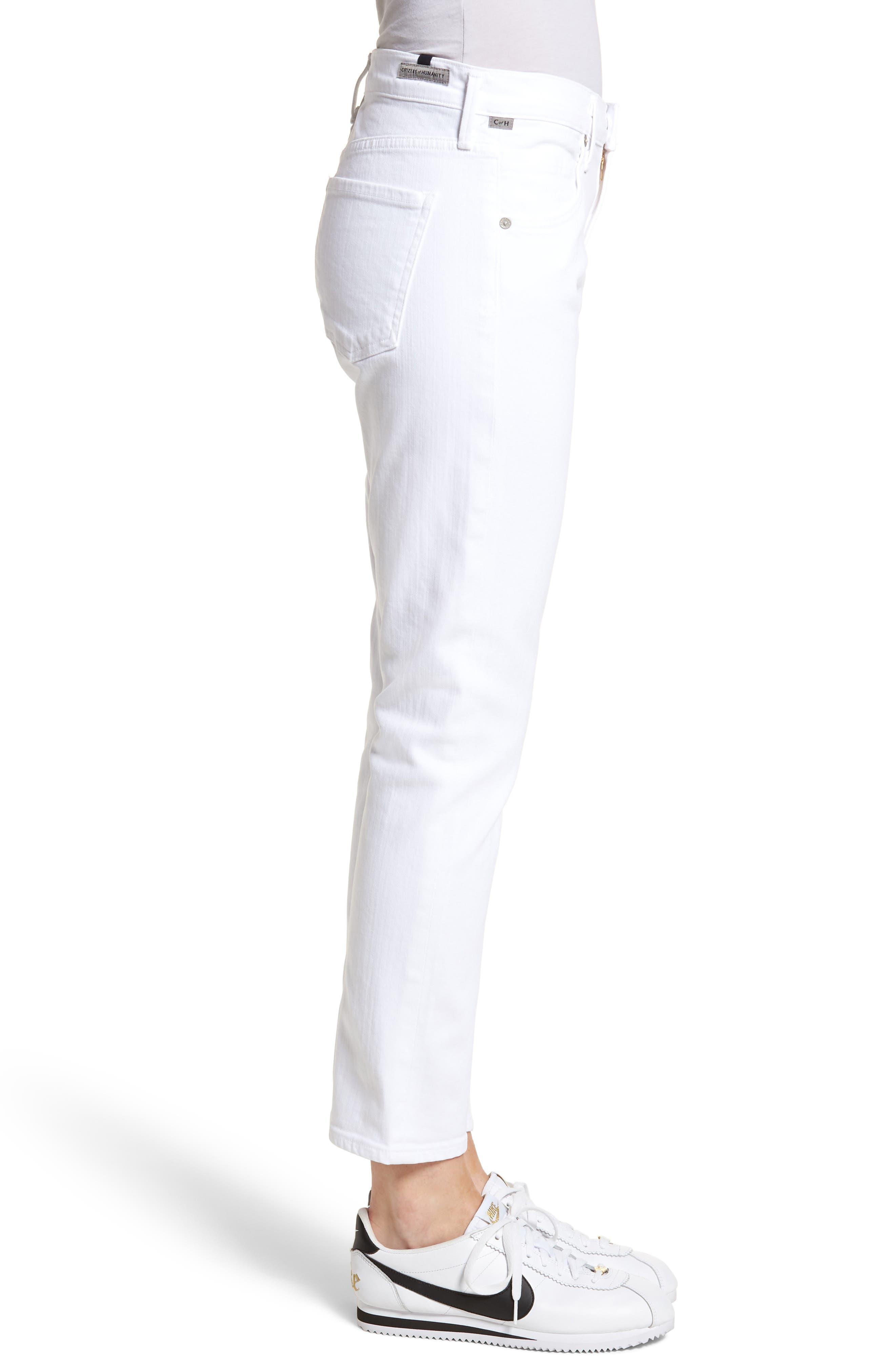 ,                             Elsa Crop Slim Jeans,                             Alternate thumbnail 4, color,                             OPTIC WHITE